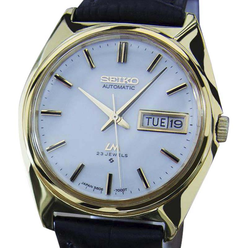 "Image of ""Seiko Lord Matic 5606 7000 Stainless Steel Gold Plated Automatic 36mm"""