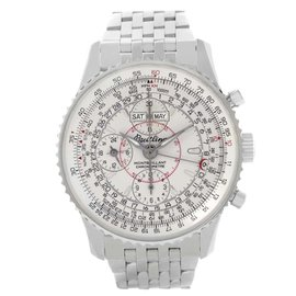 Breitling Navitimer Montbrillant Datora A21330 Stainless Steel Silver Dial 43mm Mens Watch