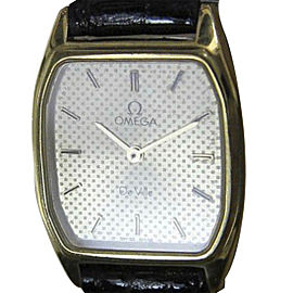 Omega Deville Gold Plated & Leather Quartz 20mm Watch 1980
