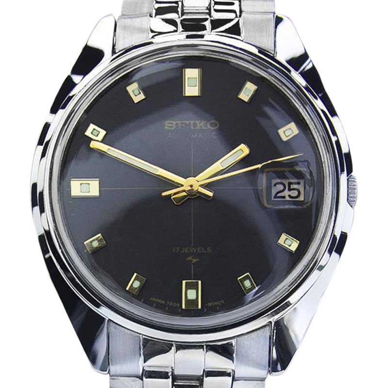 """Image of """"Seiko 7005 Stainless Steel Automatic Vintage 34mm Mens Watch 1970s"""""""