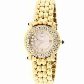 Chopard Happy Sport 27/6150-23 18K Yellow Gold Diamond Bezel & Dial 26mm Womens Watch