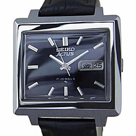 Seiko Actus Stainless Steel & Leather Automatic 36mm Men's Watch 1970s