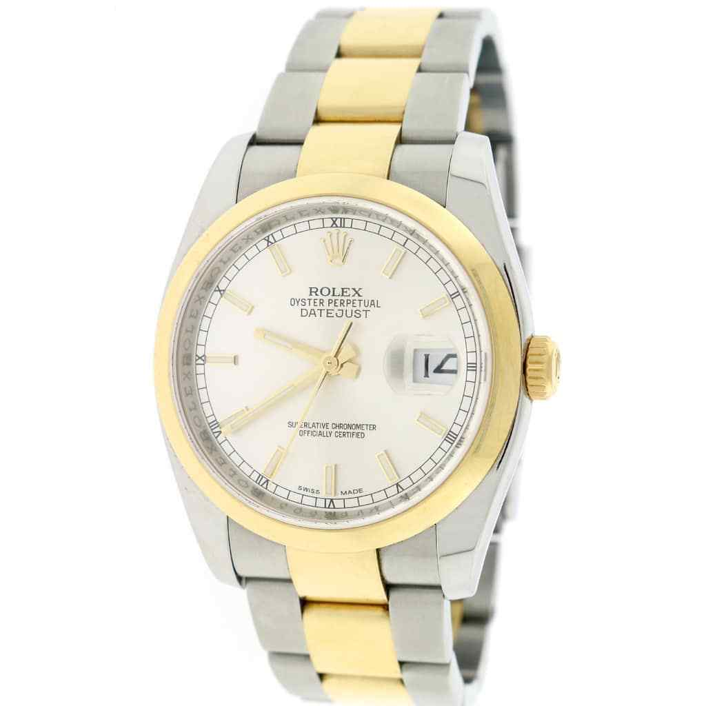 "Image of ""Rolex Datejust 116203 18K Yellow Gold & Stainless Steel Silver Dial"""