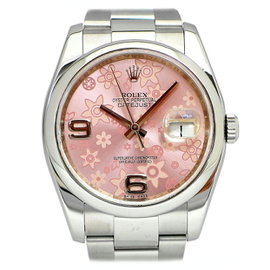 Rolex Datejust 116200 Stainless Steel Pink Floral Dial 36mm Womens Watch