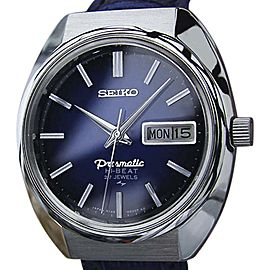 Seiko Presmatic Stainless Steel & Leather Vintage 36mm Mens Watch 1970s