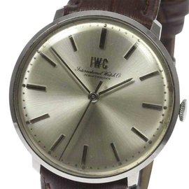 IWC Schaffhausen Stainless Steel Leather Belt Hand-Winding 34mm Mens Watch