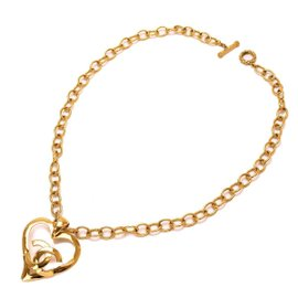 Chanel Gold Tone Hardware Heart Logos Long Necklace