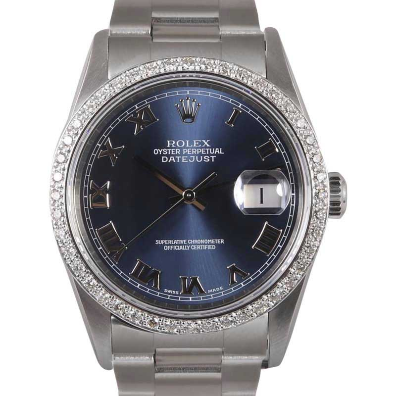 "Image of ""Rolex Datejust Stainless Steel Navy Roman Dial wDiamond Bezel"""
