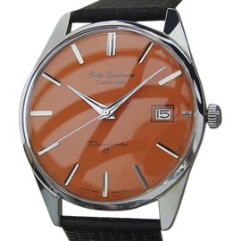 Seiko Sportsman Stainless Steel & Leather Manual 36mm Mens Watch 1960s