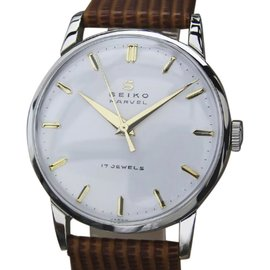 Seiko Marvel Stainless Steel & Leather Manual 33mm Mens Watch 1950s