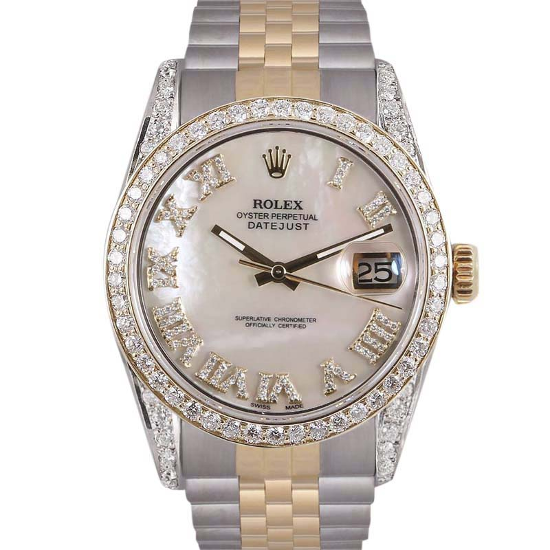 """Image of """"Rolex Datejust Stainless Steel/18K Yellow Gold wDiamonds White Mother"""""""