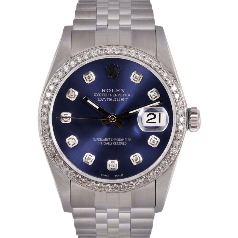 """Image of """"Rolex Datejust Stainless Steel/18K White Gold Navy Dial wDiamonds 36mm"""""""