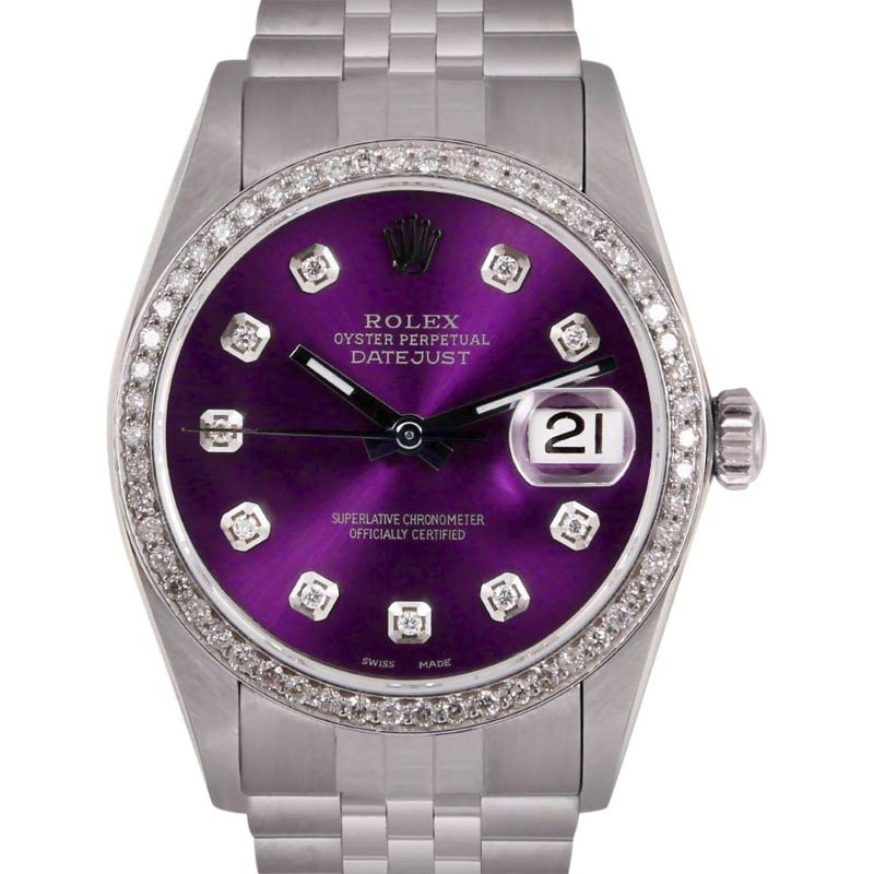 """Image of """"Rolex Datejust Stainless Steel/18K White Gold Purple Dial wDiamond"""""""