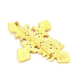 Chanel Gold Tone Hardware Cross Brooch