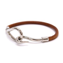 Hermes Leather and Silver Tone Hardware Jumbo Bracelet