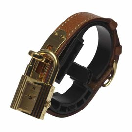 Hermes Kelly Gold Plated/Stainless Steel Leather Belt 20mm Womens Watch