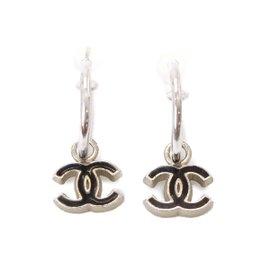 Chanel Silver Tone Hardware Coco-Mark Earrings