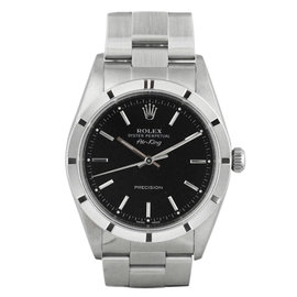 Rolex Air King 14010M Stainless Steel Automatic Black 34mm Mens Watch