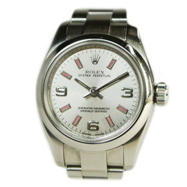 Rolex Oyster Perpetual 176200 Stainless Steel Automatic Silver Pink Dial 26mm Womens Watch 2007's