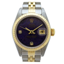 Rolex DateJust 69173 2BR Stainless Steel / Yellow Gold Automatic Diamond Purple Jade 25mm Womens Watch