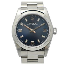 Rolex Oyster Perpetual 77080 Stainless Steel Automatic Navy Silver 31mm Mens Watch
