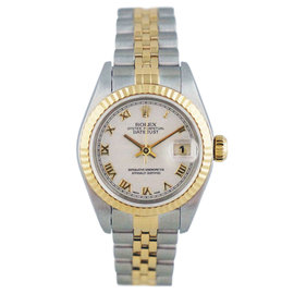Rolex Datejust 79173 Roman Dial Stainless Steel Yellow Gold Automatic White 25mm Womens Watch