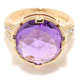 Bulgari 18K Pink Gold Amethyst & Diamond Parenteshi Cocktail Ring Size 5.5