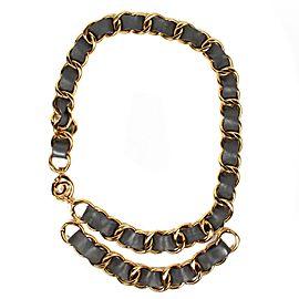Chanel Gold Tone Hardware & Leather CC Logo Necklace