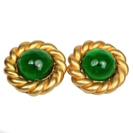 Chanel Gold Tone Hardware Gripoix Green Clip On Earrings