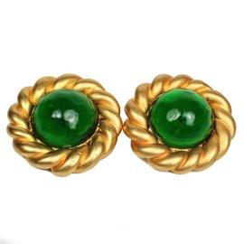 Chanel Gold Tone Hardware Gripoix Green Clip On Earrings