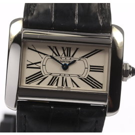 Cartier Mini Tank Divan W6300255 Quartz Leather Belt 31.5mm Womens Watch