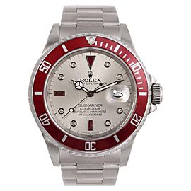 Rolex Submariner 16610 Stainless Steel Silver Diamond Ruby Dial 40mm Mens Watch