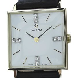 Omega 14K Yellow Gold and Diamond 25mm Unisex Watch 1970s Vintage