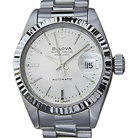 Bulova Super Seville Stainless Steel Automatic 26mm Womens Vintage Watch 1970s