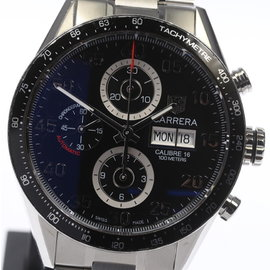 Tag Heuer Carrera Cal.16 CV2A10 Stainless Steel Black Dial 44mm Mens Watch
