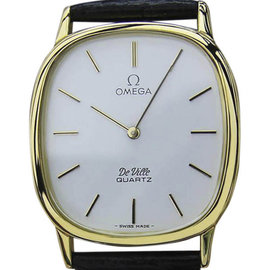 Omega DeVille Gold Plated Stainless Steel & Leather Quartz 30mm Mens Watch 1980s