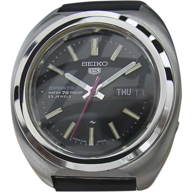 "Image of ""Seiko 5 Sports 7019-7050 Stainless Steel & Leather Automatic 39mm Mens"""