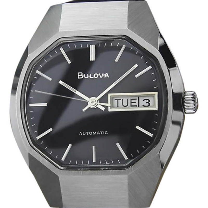 "Image of ""Bulova Day Date Stainless Steel & Leather Automatic Vintage 35mm Mens"""