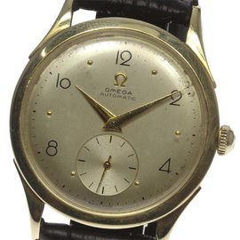 Omega Half Rotor Gold Plated Steel / Leather Automatic 34mm Mens Watch