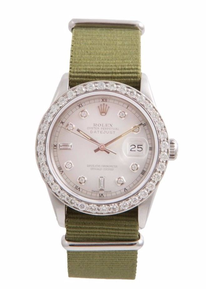 """Image of """"Rolex Datejust Stainless Steel Olive Canvas Strap and Custom 2ct"""""""