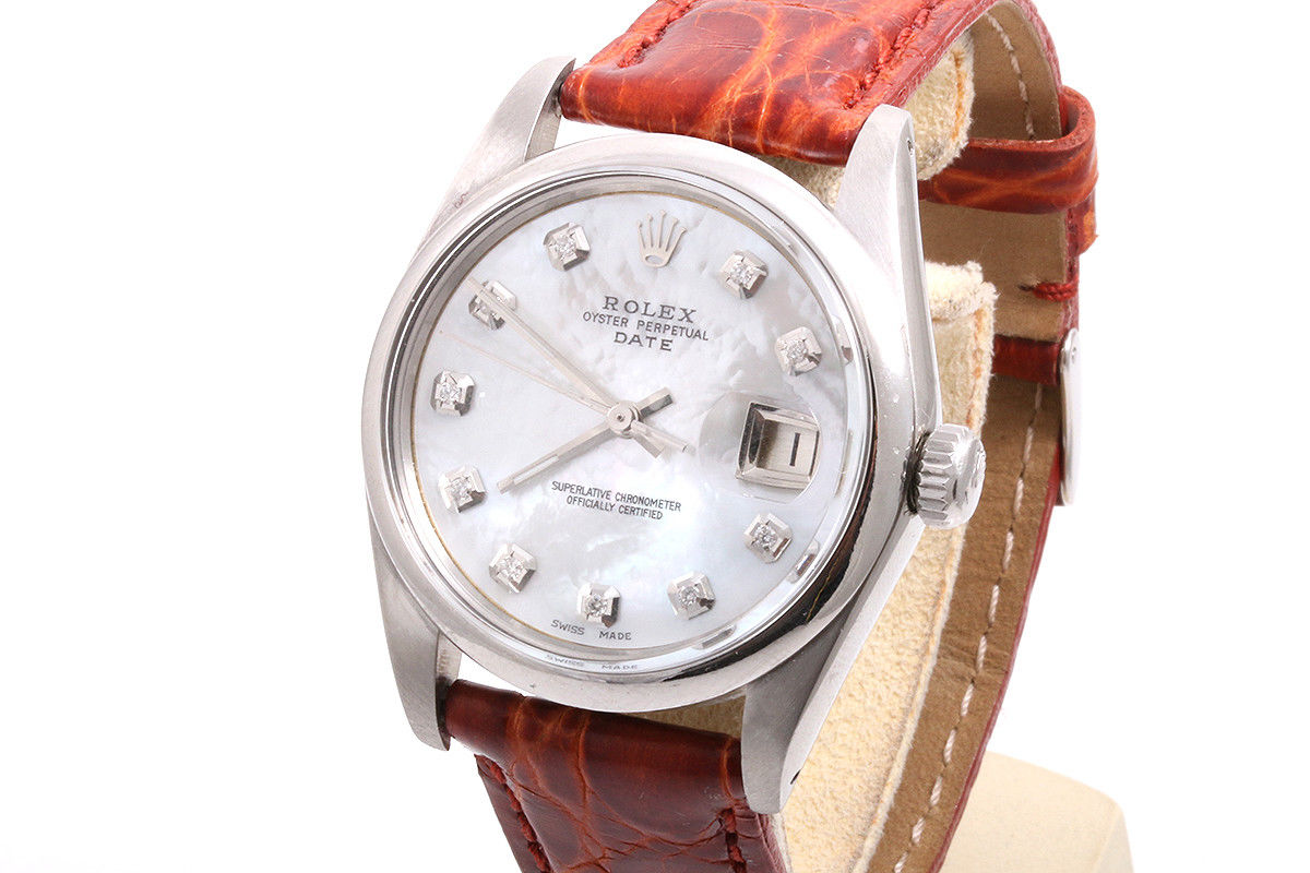 """Image of """"Rolex Date Stainless Steel with Mother Of Pearl Diamond Dial 34mm"""""""