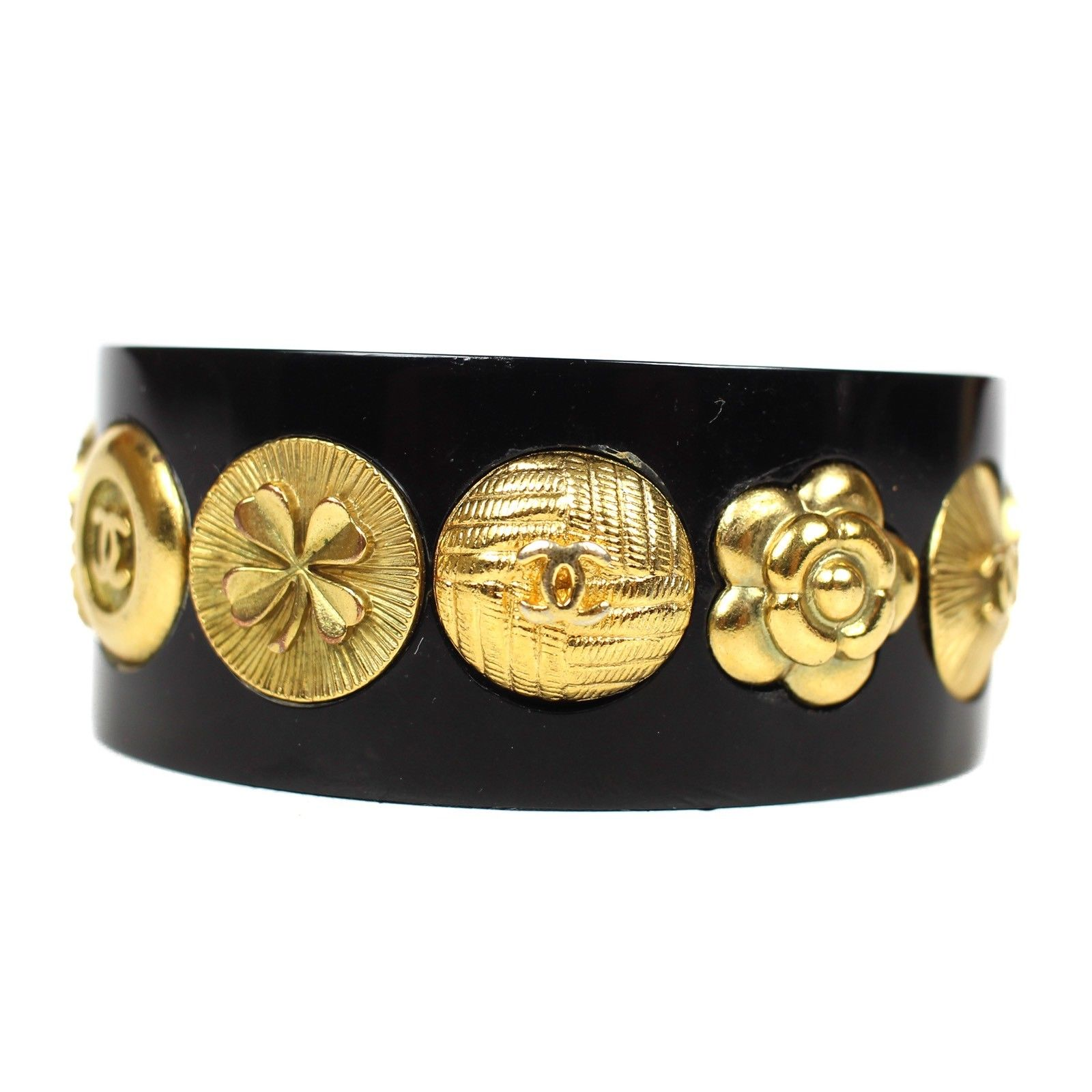 """Image of """"Chanel Gold Tone Hardware Charms Black Resin Cuff Bracelet"""""""