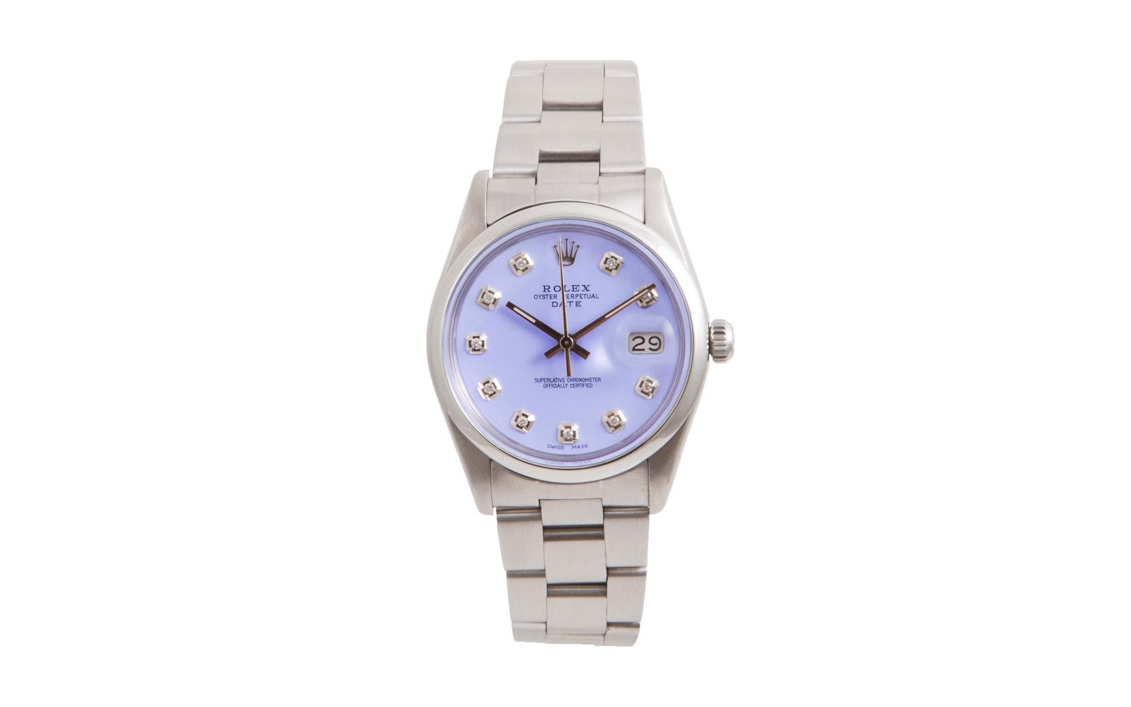 """Image of """"Rolex Date Stainless Steel Date Purple Diamond Dial 34mm Unisex Watch"""""""