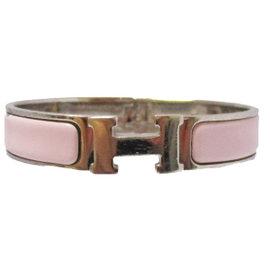 Hermes Silver Tone Hardware Pink Clic Clac Bangle Bracelet