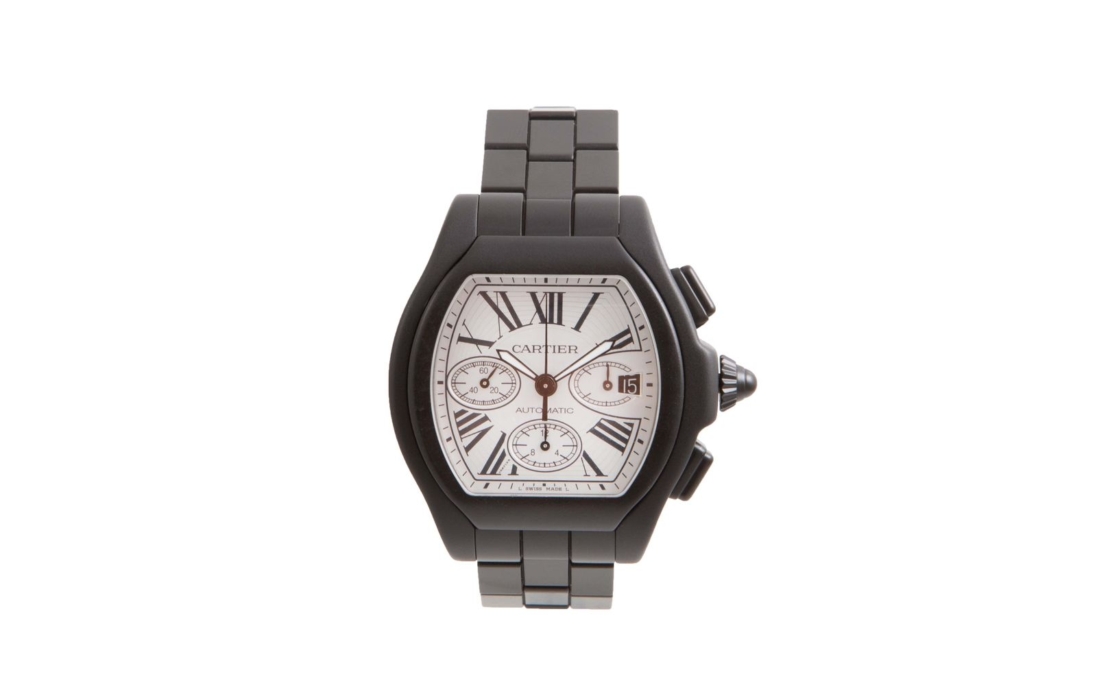"""Image of """"Cartier Roadster 3405 Dlc/pvd Coated Stainless Steel Silver Dial"""""""