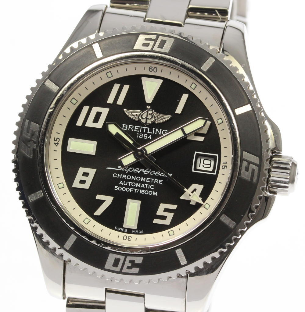 "Image of ""Breitling Super Ocean A17364 Stainless Steel Automatic 44mm Mens Watch"""