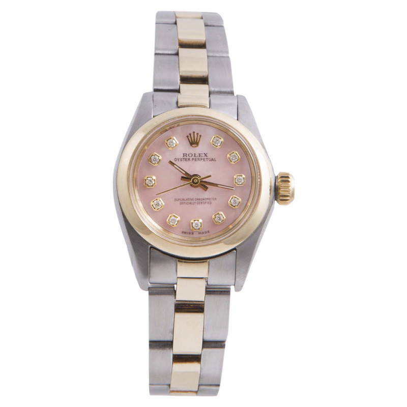 "Image of ""Rolex Oyster Perpetual Yellow Gold / Stainless Steel with Pink Diamond"""