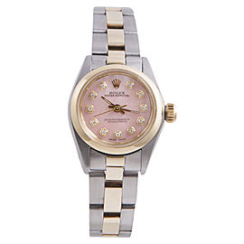 Rolex Oyster Perpetual Yellow Gold / Stainless Steel with Pink Diamond Dial 24mm Womens Watch