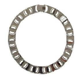 Salvatore Ferragamo Silver Tone Hardware Logo Vara Pendant Vintage Necklace