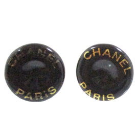 Chanel Vintage CC Logo Black and Gold-Tone Hardware Clip-On Earrings